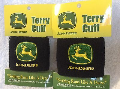 2 John Deere Wrist Bands Terry Cuff By Earth Tones NEW Original Tractor Sweat