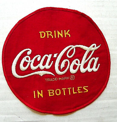 """1950's """"DRINK COCA-COLA IN BOTTLES"""" DRIVER ROUND PATCH ~ 7"""" Dia."""