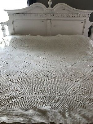 Vintage FULL Micro Knit Bedspread Coverlet HAND Made French Raised Leaf Antique