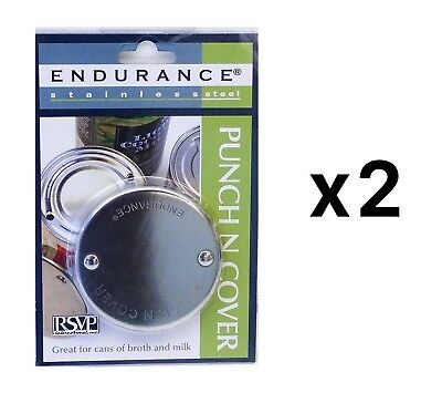 RSVP Endurance Stainless Steel Punch N Cover, Canned Broth Liquid Saver (2-Pack)