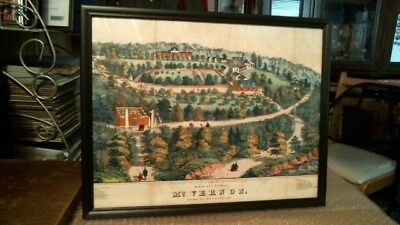 Birds Eye View Of Mt. Vernon Antique Framed Color Lithographed Print Dated 1859