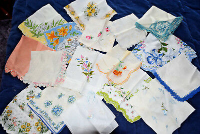Lot of 18 Vintage Retro Handkerchiefs HANKIES - Embroidered Lace Floral