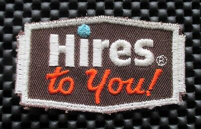 """HIRES TO YOU ROOT BEER EMBROIDERED PATCH BEVERAGE SODA NOS 3 1/4"""" x  1 7/8"""""""