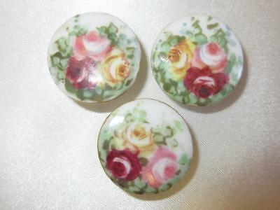 3 Set Vtg Antique Victorian PINK RED ROSE Hand Painted China Dress Stud Buttons