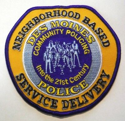 Des Moines Iowa Police Community Policing Neighborhood Based Patch Unused
