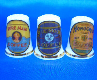 Birchcroft Porcelain China Thimbles - Set Of Three Old Coffee Labels