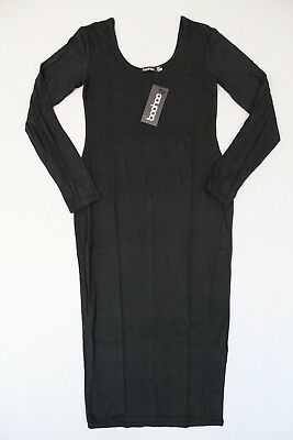 fab287ce305a Boohoo Womens Arielle Square Neck Long Sleeved Bodycon Dress SV3 Black Size  US:6
