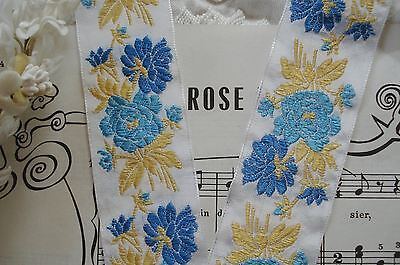 "1y VTG FRENCH 1 3/8"" BLUE ROSES FLOWERS JACQUARD RIBBON TRIM ANTIQUE MILLINERY"