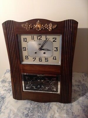FRENCH Antique MORBIER Wall CLOCK Pendulum Vintage (2961)