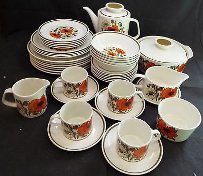 J&G MEAKIN Studio English Ironstone 41 Pieces Poppy Tea & Dinner Set - S14