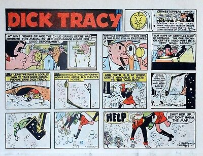 Dick Tracy by Chester Gould - large half-page color Sunday comic - Jan. 9, 1972