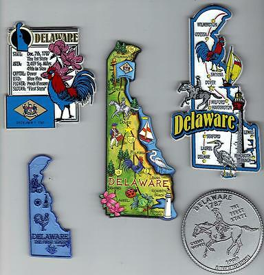 DELAWARE MAGNET ASSORTMENT 5 NEW  STATE SOUVENIRS including JUMBO MAP MAGNET