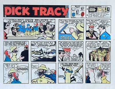 Dick Tracy by Chester Gould - large half-page color Sunday comic, March 12, 1972