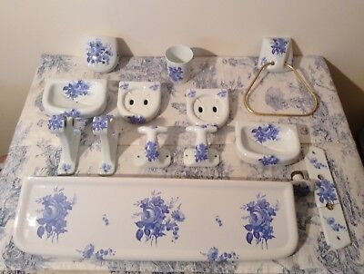 14 Piece Limoges Porcelain French Bathroom Set - Blue Flower Decoration (2607)