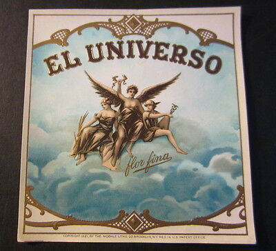 Original Old Antique - EL UNIVERSO - Outer CIGAR BOX LABEL - Gods in the Clouds