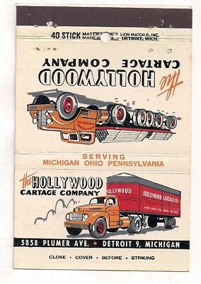 The Hollywood Cartage Company Trucking, 5858 Plumer Ave., Detroit MI Matchcover