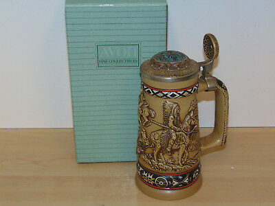 Avon Indians of the American Frontier Beer Stein w/Lid 1986-New in Open Box
