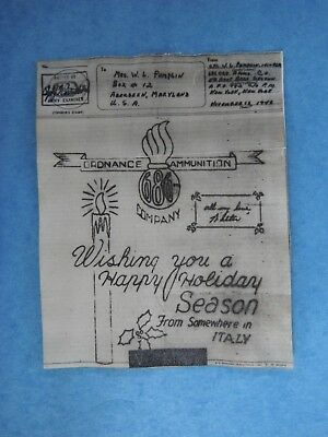 WWII V-Mail 686th Ord. Co, Wishing You a Happy Holiday Season,Somewhere in Italy
