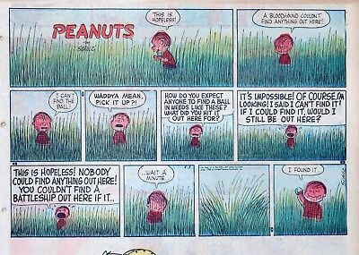 Peanuts by Charles Schulz - large half-page color Sunday comic - August 3, 1958
