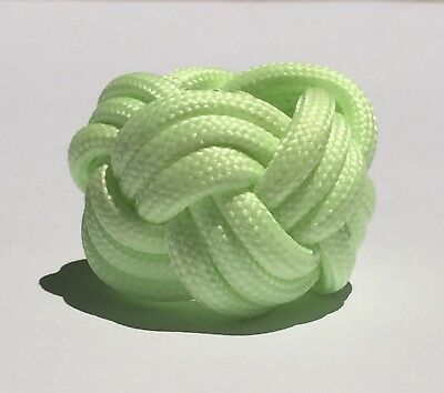 handmade boy scout green glow-in-the-dark paracord neckerchief slide woggle