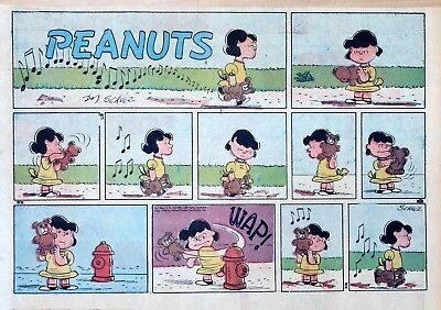 Peanuts by Charles Schulz - large half-page color Sunday comic - August 31, 1958