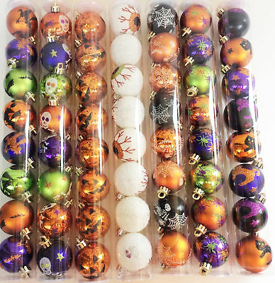 Darice Halloween Decor - Plastic Glitter Ornaments 45mm 7 Asst. Sets