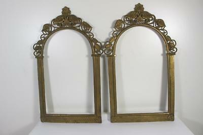 "Paire Of Victorian Eastlake Period Brass Wall Frame Portrait 16"" Inches"