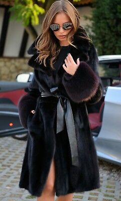 New Black Mink Fur Trench Coat Fox Class- Sable Chinchilla Long Jacket Vest Lynx