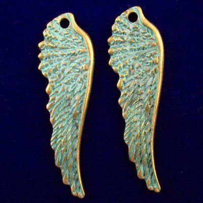 2Pcs 48x14x3mm Carved Brass Bronze Wing Pendant Bead F40944