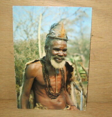 Vintage South Africa Old Zulu Man Tribal Life Photo Postcard