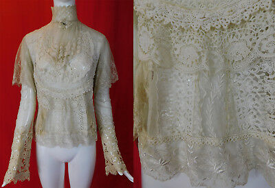 Vintage 1970s Victorian Style Antique Patchwork Mixed White Lace Blouse Boho Top