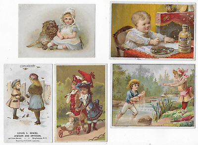 Victorian Trade Cards 5 Featuring Children Advertising Products Ladies & Babies