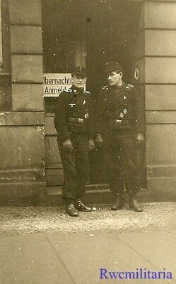 **BEST! Pair Combat Decorated German Panzermen Posed on City Street!!!**