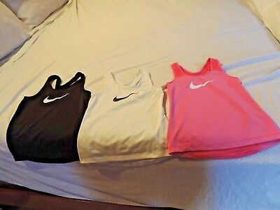 LOT OF 3 Girl's Youth Nike Pro Dri-Fit Tank Top YOUTH SMALL EUC BLACK WHITE PINK