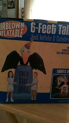 6' Foot Airblown Inflatable Over The Hill Vulture Bird Tombstone Gemmy Light Up