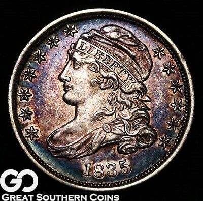 1835 Capped Bust Dime, Great Color, Very Nice BU++ Early Type, ** Free Shipping!