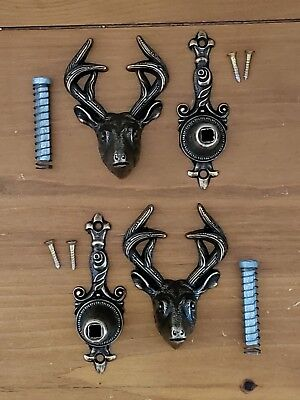 VINTAGE SET OF (2) Deer Head Gun~Sword~Knife Wall Mount Display Holders NICE!!