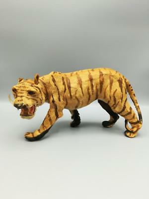 Antique Vintage Real Fur Tiger Statue/Toy Glass Eyes 6 x 12 Taxidermy Circus ...