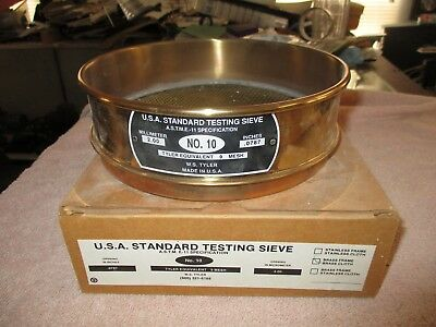 "US Standard ASTM E11 No. 10 Testing Sieve Screen BRASS WS Tyler .0787"" w. box"
