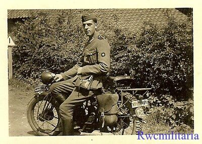 STYLISH Pose by Wehrmacht Soldier Seated on Motorcycle (WH-808471)!!!