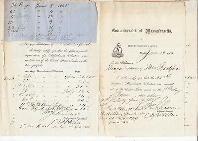 New Bedford Massachusetts Civil War 1863 Documents (8) Muster Soldiers