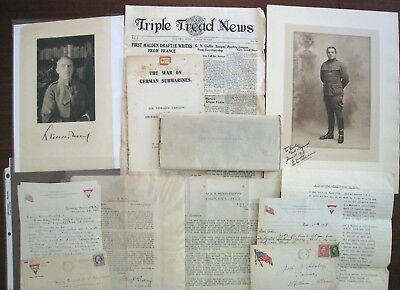 WWI World War I Letters, Photos Books Lot - Submarines, China, more