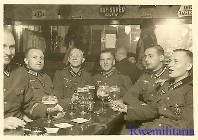 PROST! Wehrmacht Soldiers at Table w/ Steins of Bier in Bar; 1940 (#1)!!!