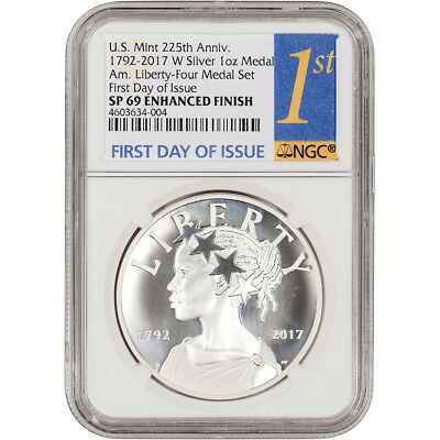 2017-W US American Liberty Silver Medal NGC SP69 Enhanced First Day 1st Label