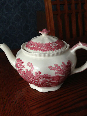 "Teapot/adams China Antique Teapot/""english Scenic"" Staffordshire Older/rare"