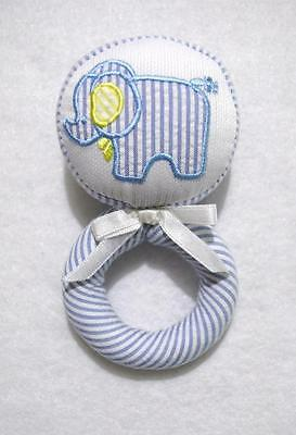 Boys Soft Blue Striped Seersucker Cloth Elephant Baby Rattle~Baby Shower Gift