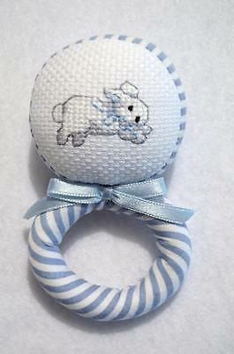 "Hand~Cross Stitched Soft Blue Fabric Bunny Baby Rattle~ 4 1/2""~Baby Shower Gift"