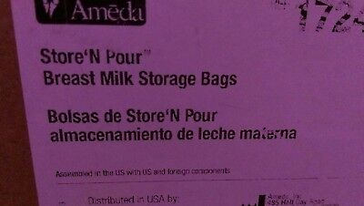Ameda Store 'N Pour Breast Milk Storage Bags - 150 Bags - With 2 Adaptors