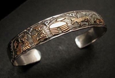 American Navajo Sterling Silver Story Teller Bangle Signed Ta Begay 12Kgf