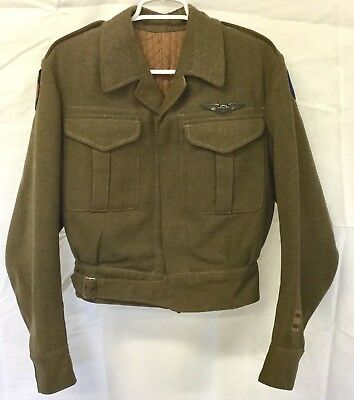WWII US Army Air Corps Chinese CBI Theater-Made Ike Jacket Bullion Patches Wing